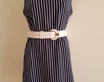 Black and White Stripe / Mod / Go-Go / Sleeveless / Mini Dress