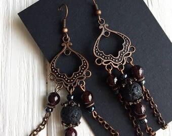 Tribal earrings, bohemian earrings, ethnic earrings, beaded earrings, statement earrings, boho earring, crystal earrings, retro earrings