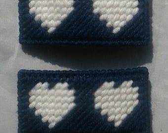 Navy and White Hair Clips, Back To School, Uniforms, Canvas Barrettes, French Barrettes, Plastic Hair Pins,  Canvasythings