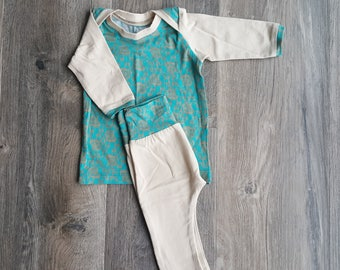 Newborn boy outfit/take home boy outfit/0-3month Baby boy clothes/teal and light tan baby boy clothes/elephant print baby boy clothes
