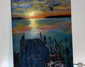 Original Painting, Welcome to Our Dock
