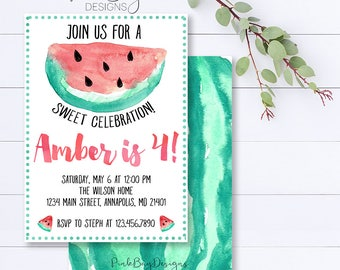 Watermelon Invitation, Watermelon Birthday, Summer Invitation, Sweet Celebration, Watermelon Party, Summer Party Invite, Birthday Invite