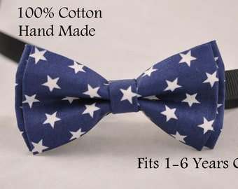 Boy infant Kids Baby 100% Cotton Navy Blue Stars Bow Tie Bowtie Wedding 1-6 Years Old