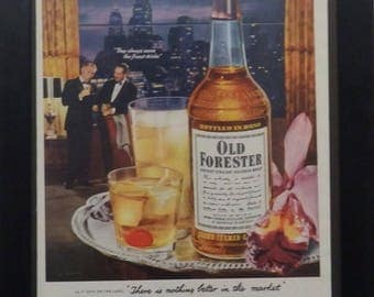 Old Forester, Whiskey Ad, Kentucky Bourbon, Mad Man Decor, Man Cave Decor, Vintage Ad, Empemera, Collage, Pumpkin