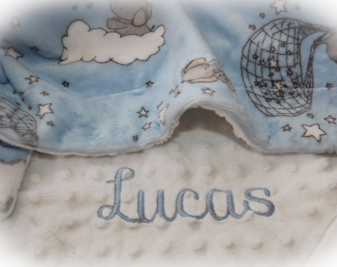 Personalized Baby Boy Blanket - Elephant Baby Blanket Boy - Blue Elephant Baby Shower - Elephant Baby Gift - Custom Baby Blanket - Minky