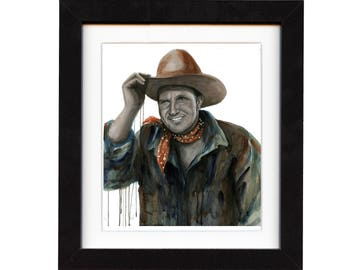 art, gene autry, art print, print, ranch, cowboy art, cowboy, gift, hat, old, western, decor, wall art, portrait, famous, saltwatercolors
