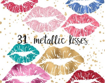 Gold lips clipart, Glitter Clipart, metallic lips clipart, Glitter lips clipart, Gold lips clip art, Pink lips clipart, Red lips clipart