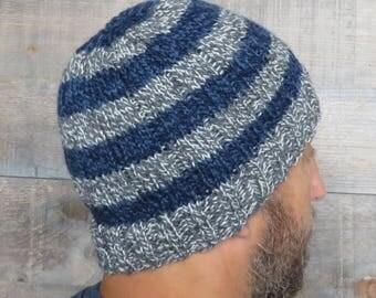 KNITTING PATTERN - Easy Striped Beanie, easy knitting pattern, beginner knitting, man's hat pattern, knitted hat, hat knitting pattern
