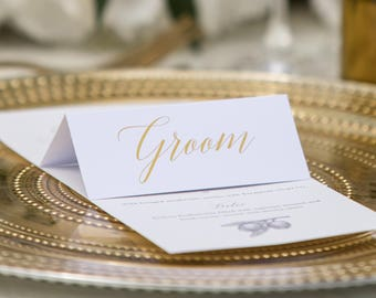 Gold foil place name cards