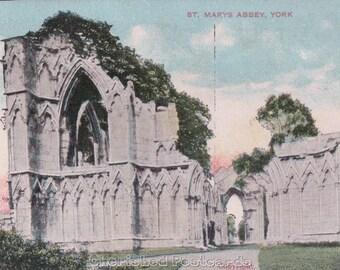 St. Marys Abbey, York ~  Vintage Postcard. ~ Not Posted ~ 1900's.