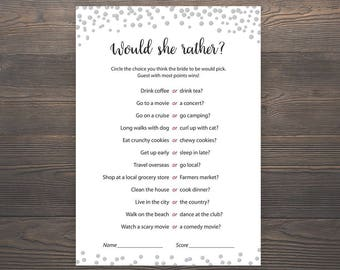 Would She Rather, Silver Bridal Shower, Bachelorette Games, Bridal Shower Games, Who knows the Bride Best, Hen Party Game, Hens Night, J014