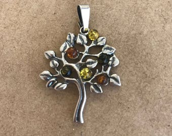 Baltic Multicoloured Amber Tree of Life Silver Pendant