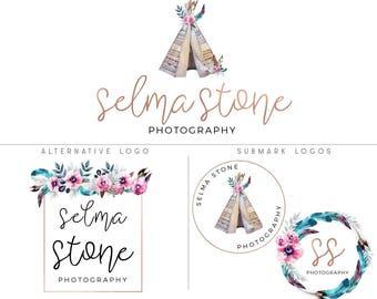 Boho logo design, Boho branding kit, Teepee logo, Feather logo, Photography logo and watermark, Bohemian mini branding kit, Premade logo