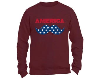 America Flag Mustache Sweatshirt  Crewneck Patriotic Hipster Independence Day 4th of July