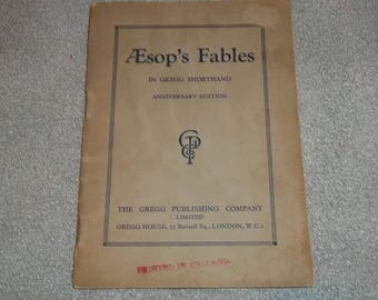 Rare AEsop's Fables in Gregg Shorthand Anniversary Edition