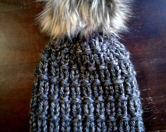Seymour hat, knit hat, knit winter beanie, faux fur pom pom hat, gold hat, womens beanie, winter hat, adult hat