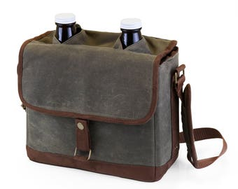Double Growler Tote with two 64 oz growlers