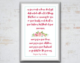 "11x17 Printable Quote by Marjorie Pay Hinckley - ""Have joy in your home."""