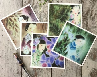 Chinese Card, Chinese Art Card, Chinese Greeting Card, Oriental Art Greeting card,  Blank Note Cards, Blank Cards Set, Blank Greeting Cards