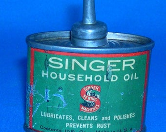 Vintage Singer Sewing Machine Company Household Oil Can - Metal - 1940's