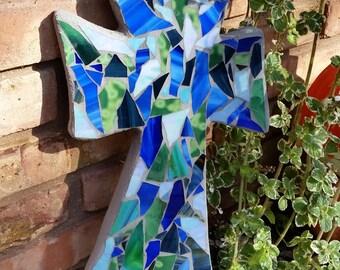 Mosaic Cross- Shades of Blue and Green