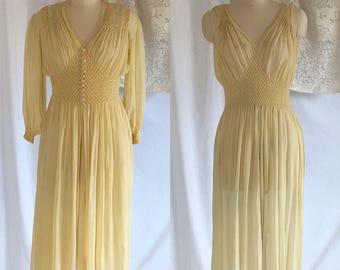 Vintage 1940's Silk Crepe Peignoir Set