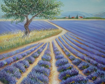 Lavender Fields Painting Original Oil Painting On Canvas Provence Painting Home Interior Wall Art Canvas Lavender Art Landscape Painting Oil