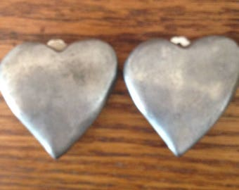 brushed sliver heart clip-on earrings