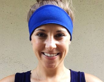 Blue Headband, Fitness Headband, Fashion Headband, Yoga Headband, Workout Headband, Handmade Headband, Stretch Headband