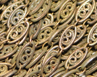 1 Foot Filigree Raw Brass Chain New Made in USA 4 mm Wide HA1