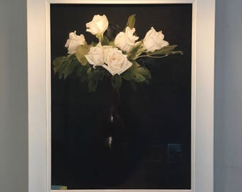 White roses painting, done in pastel, Valentine gift