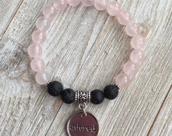 Essential Oil Diffuser Bracelet, Aromatherapy Bracelet, Rose Quartz, Lava Diffuser, Includes 1ml EO Sample Blend, Ships FREE in US