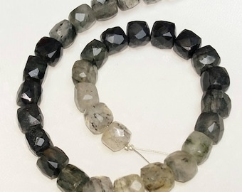 Natural BLACK RUTILATED QUARTZ  faceted cube shaped beads, 7 mm- 8 mm, 9 inch strand Approx[E1015] black rutilated quartz