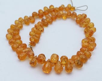 """Natural YELLOW SAPPHIRE faceted drops beads ,2x4 mm to 4x7 mm Approx ,6""""strand [E1312]excellent quality"""