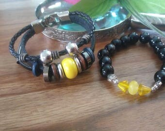 leather, Sunshine yellow and black pearl bracelet, stainless steel clip