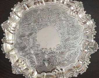 Corbell & Co. Round Silver Plate Silverplate Tray 3-Toed
