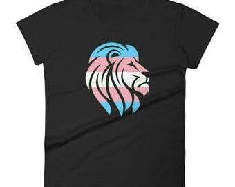 Trans Pride Lion Women's short sleeve t-shirt lgbt lgbtqipa lgbtq mogai pride flag transgender pride
