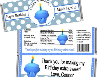 Digital Printable ~ ANY AGE ~ Blue Cupcake ~ Boy's Birthday Candy Bar Wrappers ~ Digital Printable!