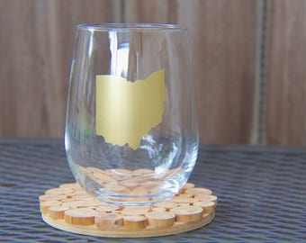 Custom State Stemless Wine Glass