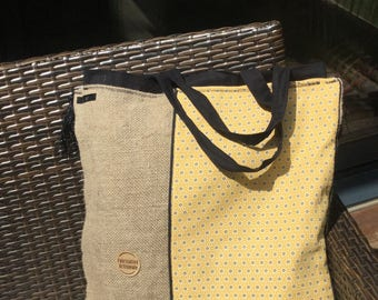 Tote bag jute and cotton yellow small black and white