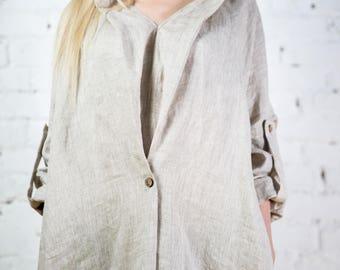 Linen dress, linen dresses for women, linen overalls, linen tunic, plus size linen, beige linen dress/LD0003