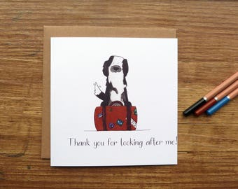 Thank You For Looking After Me Greetings Card - Cute Handmade Watercolour Puppy Dog Pet Sitting
