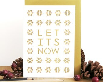 Let it snow card, Christmas papercut card, Christmas snowflake card, Frozen cute card, Seasonal card, Merry Christmas card, Winter card