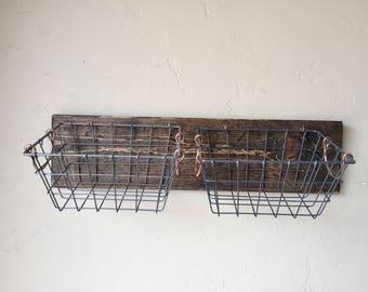Mounted Wire Baskets and Barn Wood Board, Produce Basket, Mounted Baskets, Floating Shelf and Basket Storage, Farm House Basket Storage