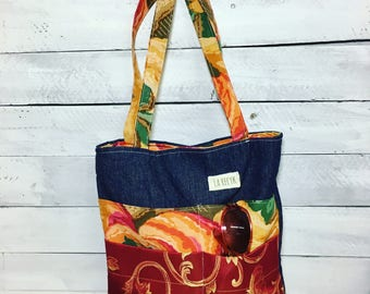 SALE tote bag, recycled handbag, denim, flower