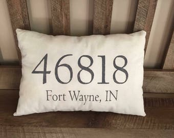 Custom Made Hand Painted Zip Code Pillow-City & State-Housewarming Gift-New Home-Personalized-Address-Wedding Gift-Lumbar Decorative Pillow-