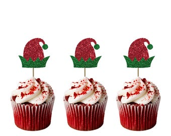 Christmas Elf Hat Cupcake Toppers - Pack of 8 - Glittery Red and Green
