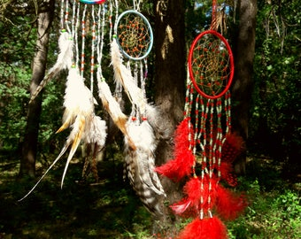Red ONIX, Dreamcather, dream catchers, glass beads, Guinea fowl feather, pheasant feather