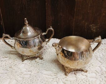 Antique Silver Plated Sugar Bowl and Creamer Set
