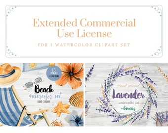 Extended Commercial Use License for 1 watercolor clipart set